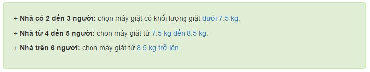 mua máy giặt bao nhiêu kg thì hợp lý